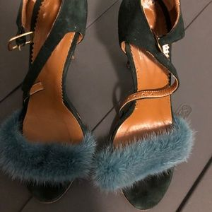 [blood and honey] fur and suede ankle strap heels